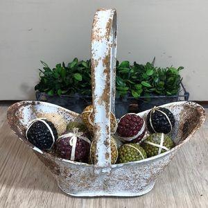 Old Chippy Paint Metal Basket & Bean Balls
